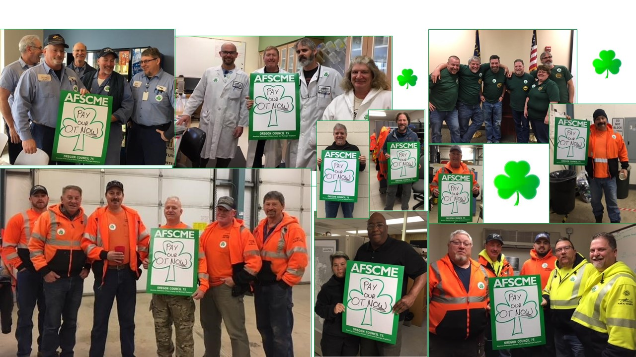 Collage of members holding pay overtime now posters